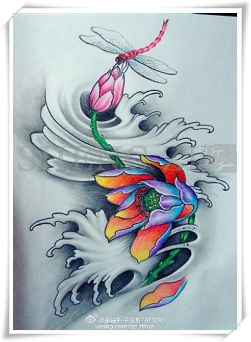 彩色 荷花纹身手稿 图案