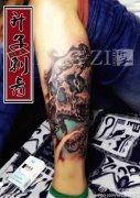 <font color='#FF0000'>小腿纹身 骷髅头纹身 图案 升子作品</font>