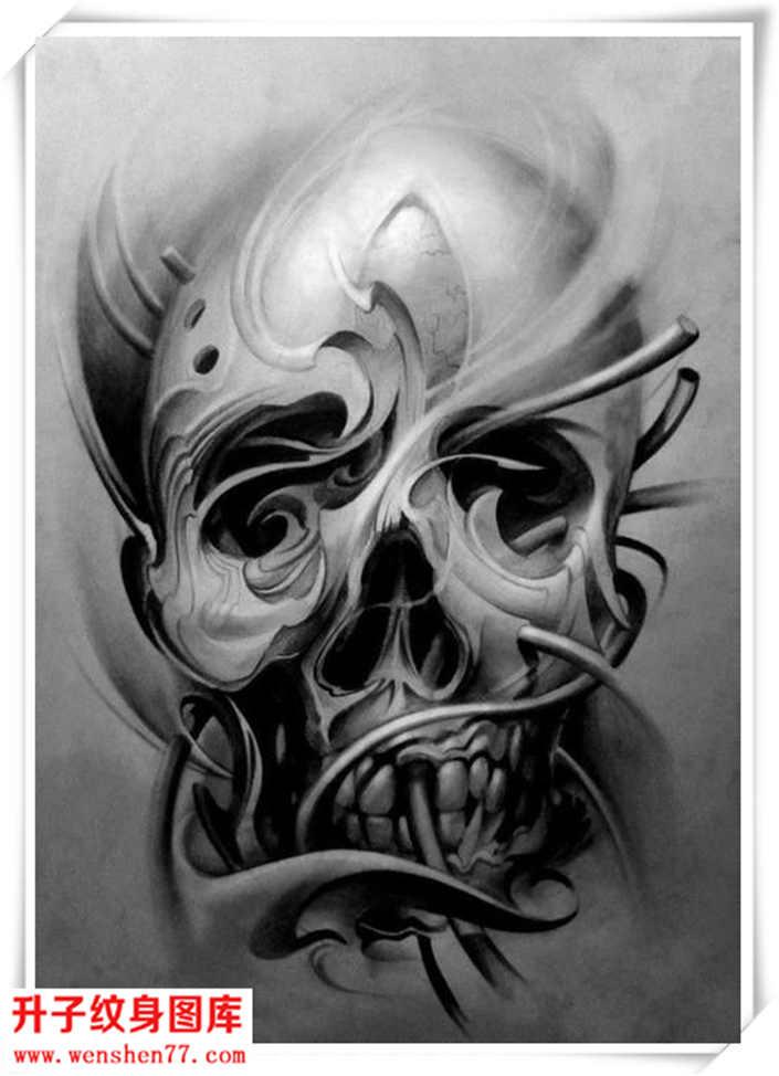 欧美骷髅头纹身手稿