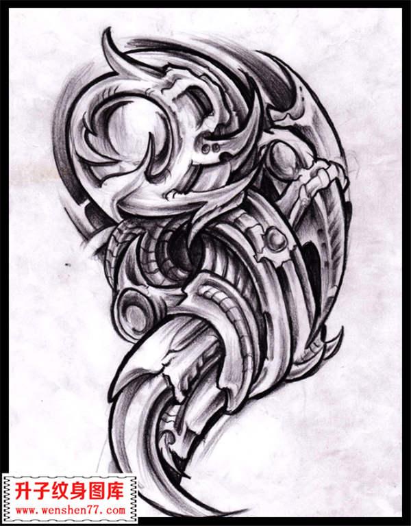 机械纹身图案 机械纹身手稿 图片大全