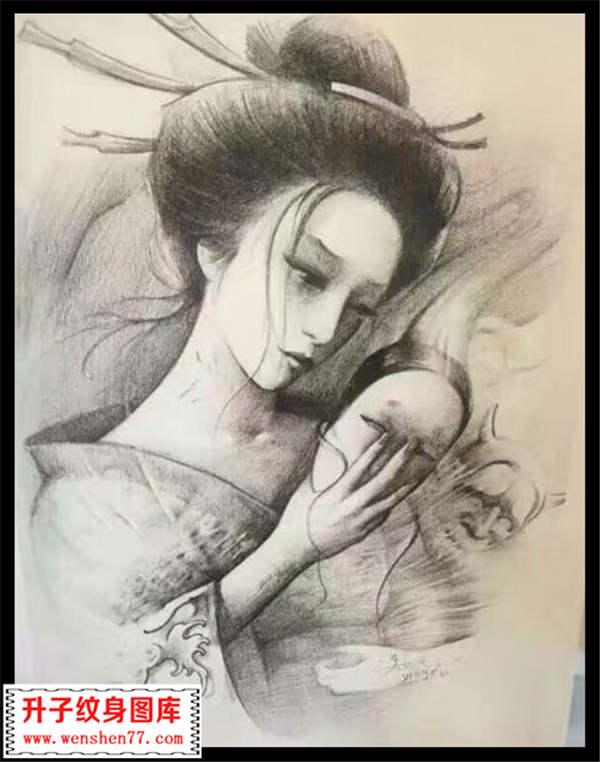 人物纹身手稿 艺妓纹身手稿 手稿图案大全