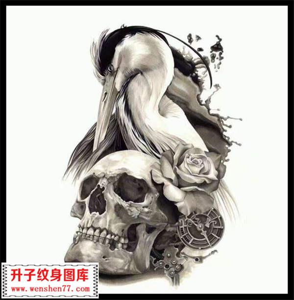 骷髅头,钟表,玫瑰花,天鹅 纹身手稿大全 图案