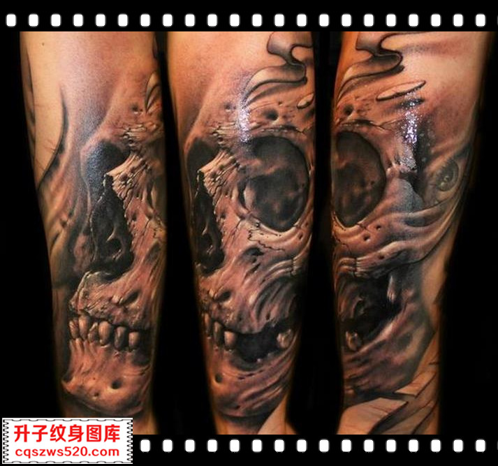 手臂纹身 欧美骷髅头纹身图案 纹身图片