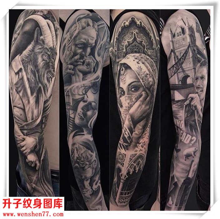 花臂纹身 欧美写实纹身人物纹身图案