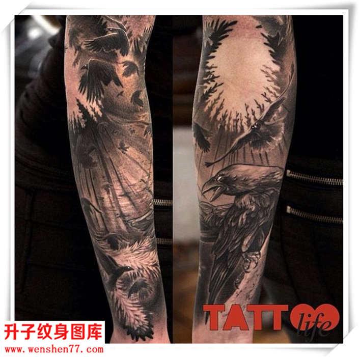 花臂纹身 欧美黑白动物森林纹身图案