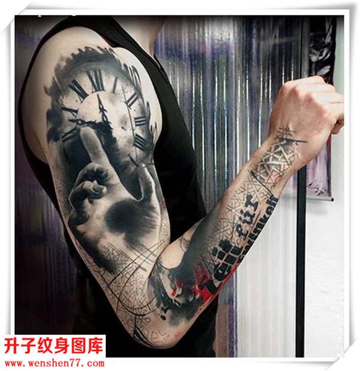 花臂纹身 欧美涂鸦线条 手 钟表纹身图案大全