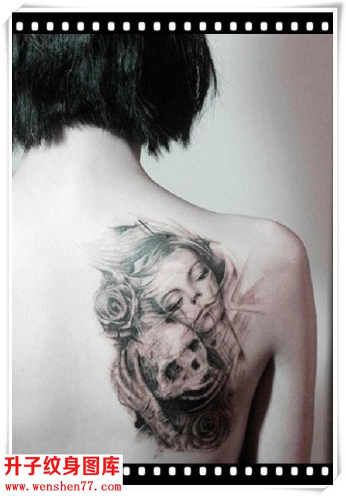 肩膀纹身 美女与骷髅头玫瑰花纹身图案