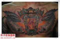 <font color='#FF0000'>胸口纹身 翅膀 灯 心脏纹身图案 大V纹身图片</font>