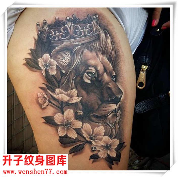臀部纹身 漂亮写实的老虎纹身图案