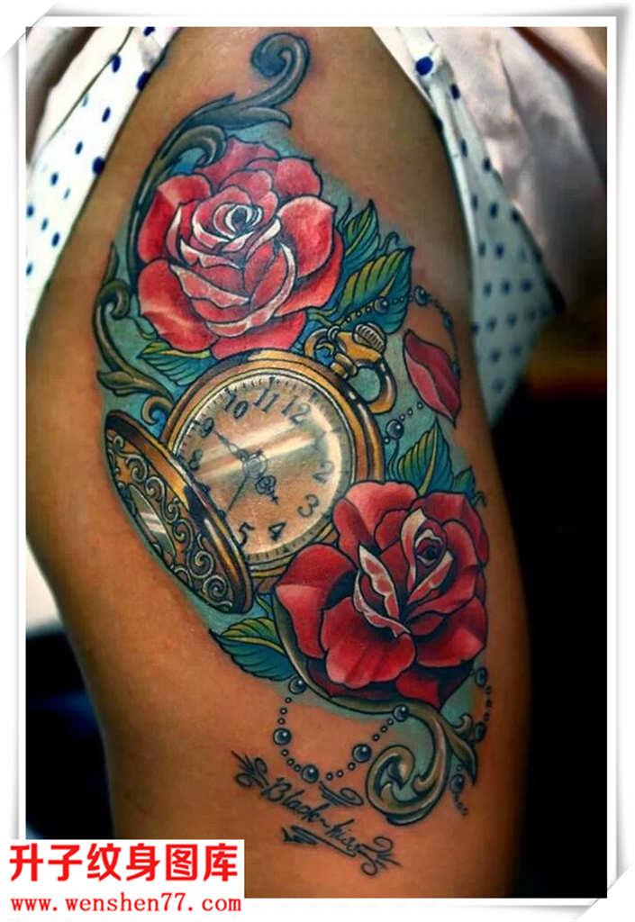 漂亮性感的彩色玫瑰花纹身钟表纹身图案