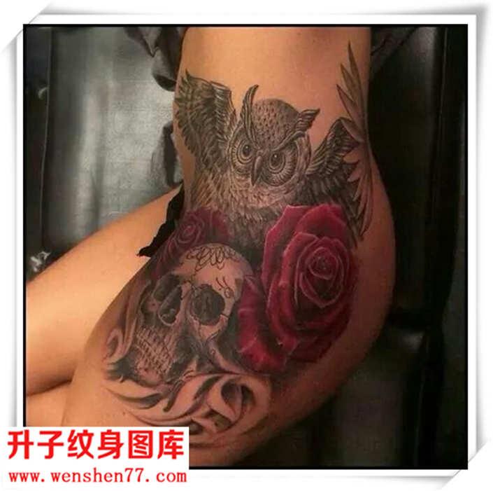 臀部猫头鹰骷髅头玫瑰花纹身图案
