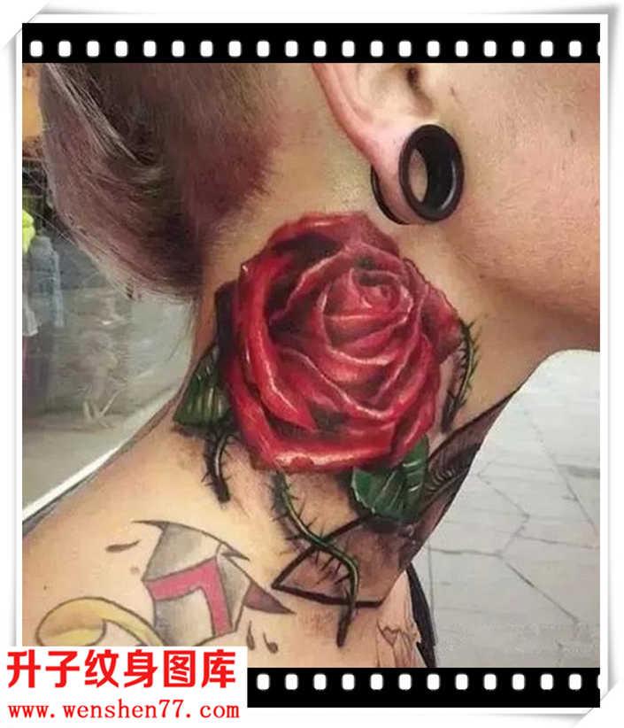 血红的脖子玫瑰花纹身图案