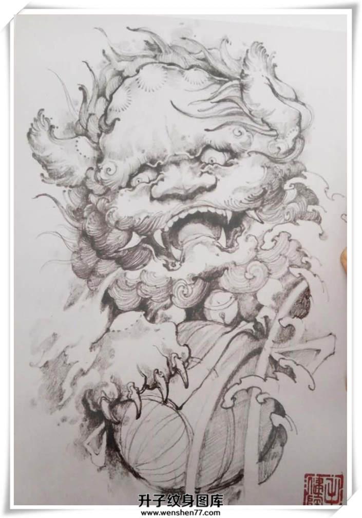 最新黑白唐狮纹身手稿图案