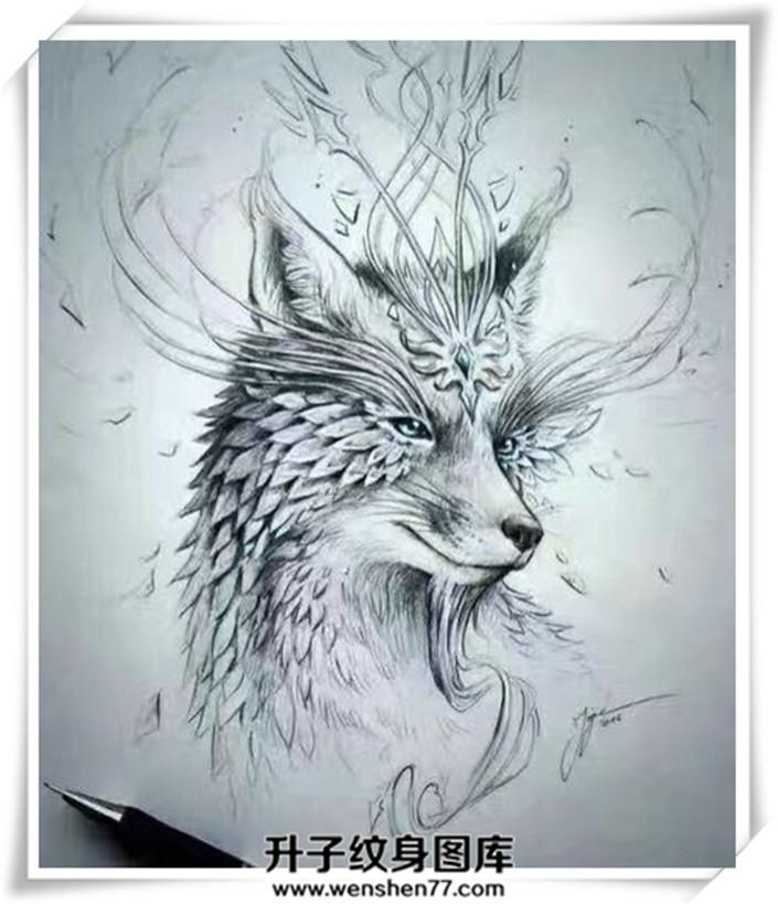 狐狸纹身手稿
