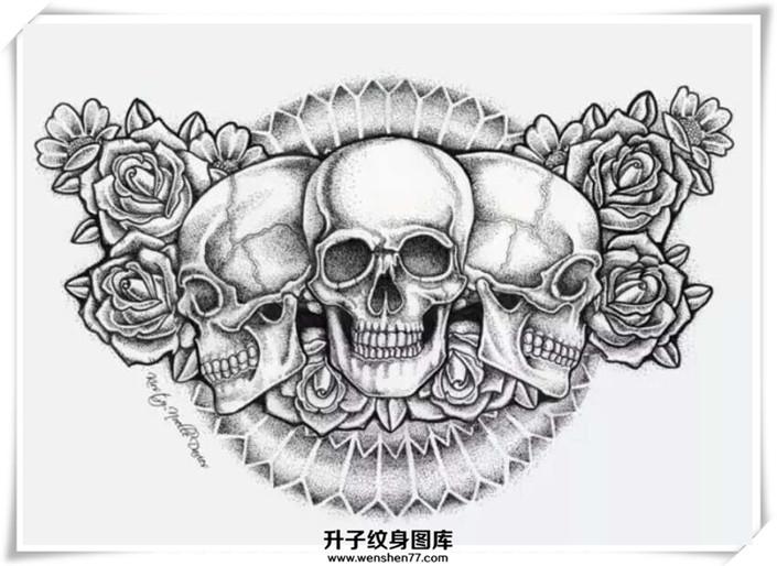 骷髅头玫瑰花纹身手稿