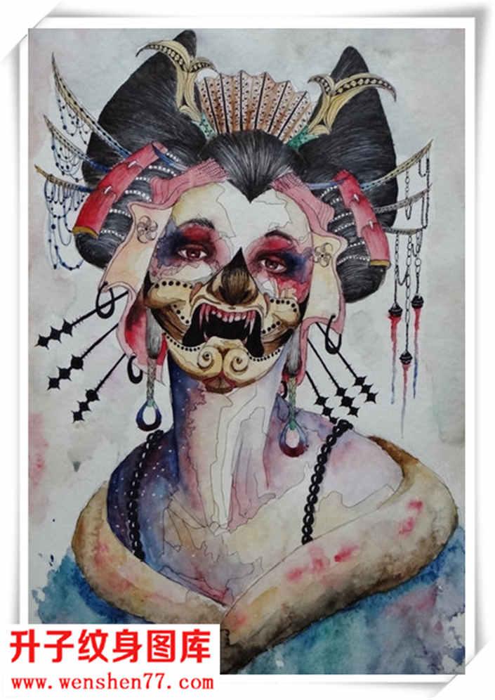 三国人物纹身手稿素材