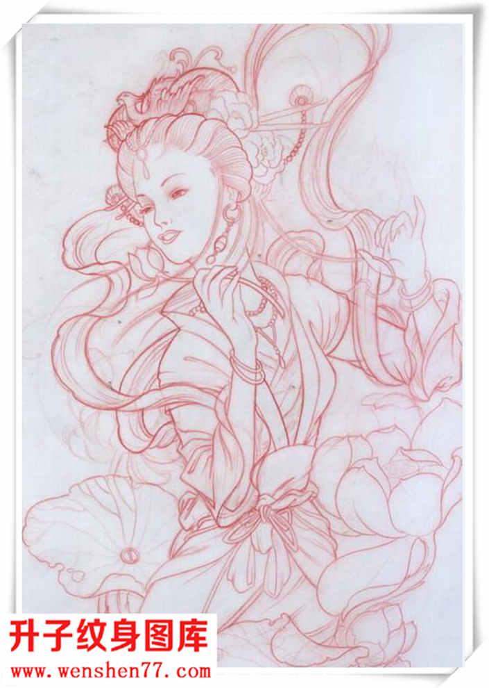 经典的艺妓素材纹身手稿图案!