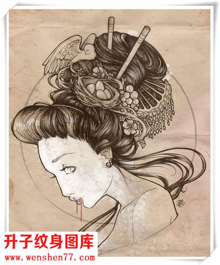 艺妓纹身素材 手稿 图案大全