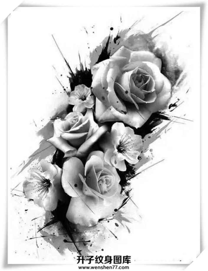 黑白玫瑰花纹身手稿大全 适合手臂 大腿部位图片