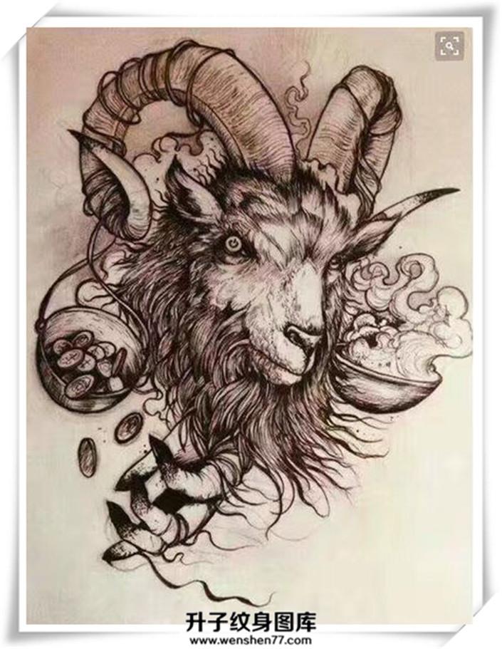 羊头纹身手稿纹什么地方好看?手臂 小腿 肩膀