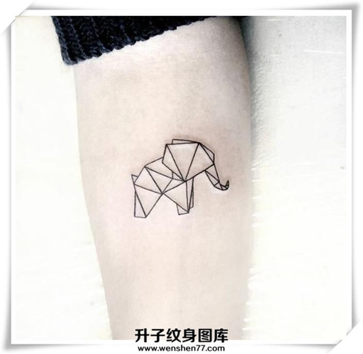 手臂小清新小象纹身图案