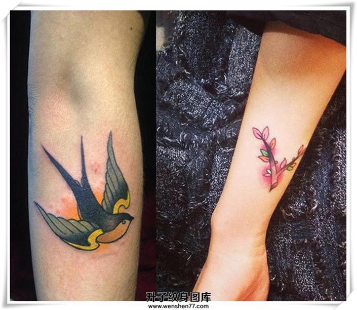 单个翅膀的纹身图案
