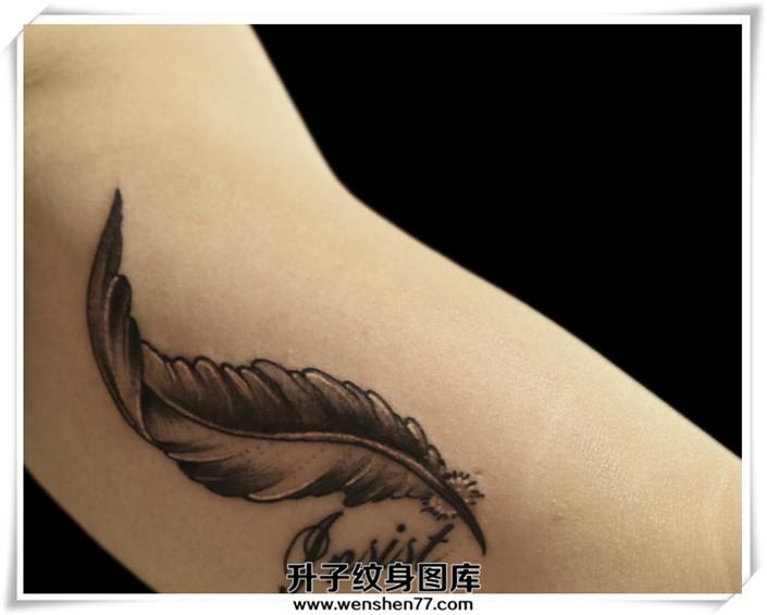 大臂内侧羽毛纹身图案