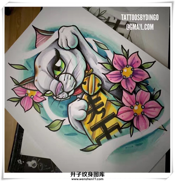 欧美new school 招财猫纹身手稿图案