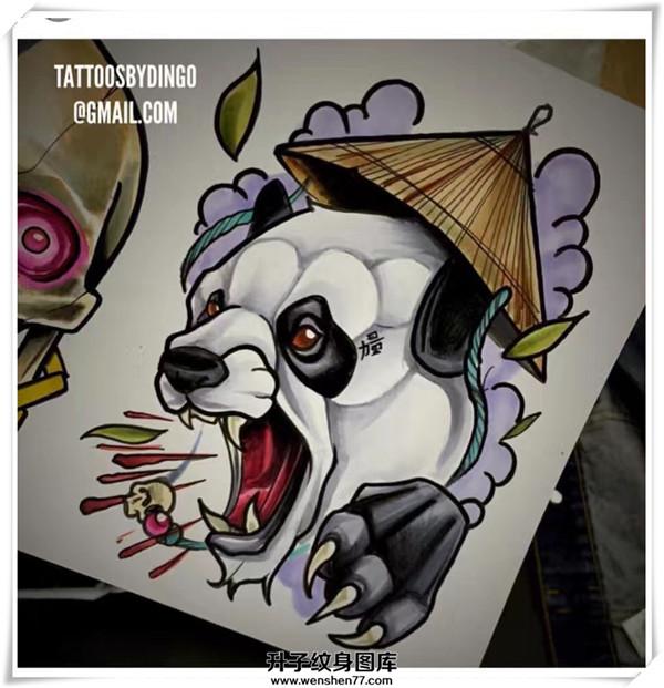 欧美new school 熊猫纹身手稿图案图片