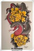b>蛇牡丹花纹身手稿 纹身价格 /b>图片
