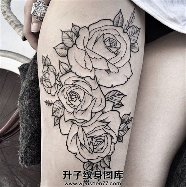 大腿简单线条玫瑰花纹身图案