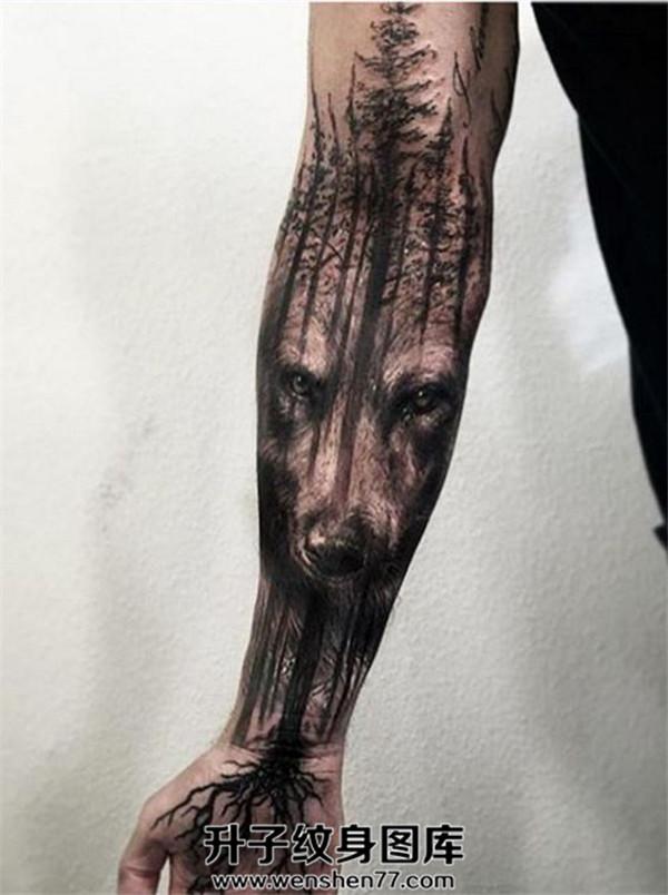 大坪纹身 手臂纹身 手臂树林狼头纹身图案大全 纹身价格