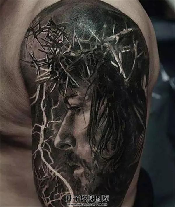 写实耶稣纹身图案 重庆纹身