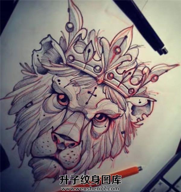狮子纹身手稿大全new school