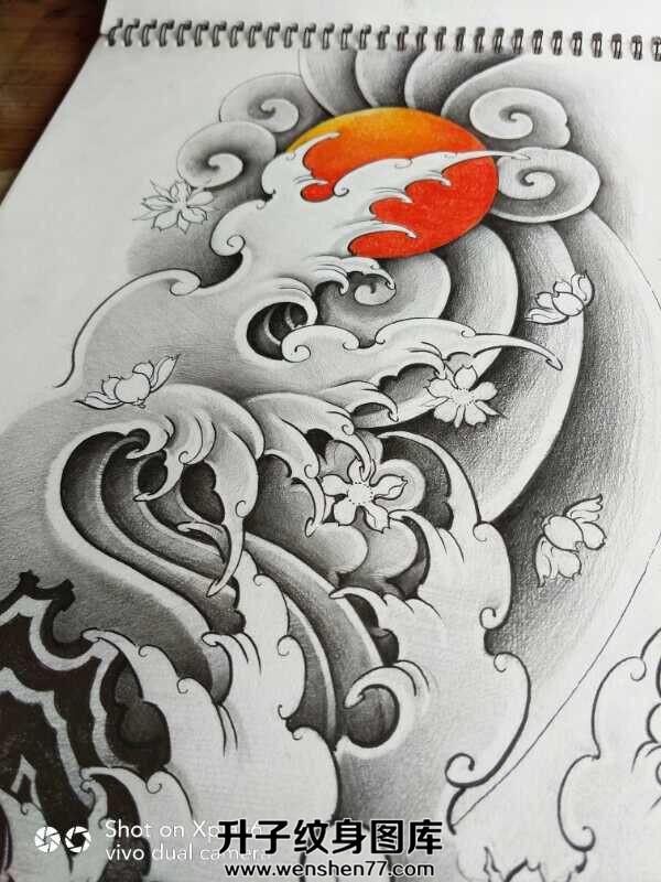 传统水花浪花纹身手稿图案大全