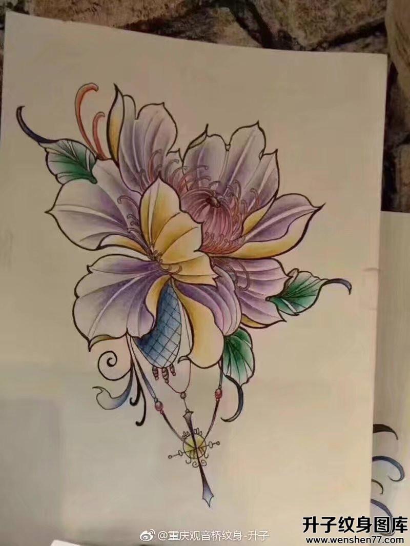 植物花纹身手稿图案大全