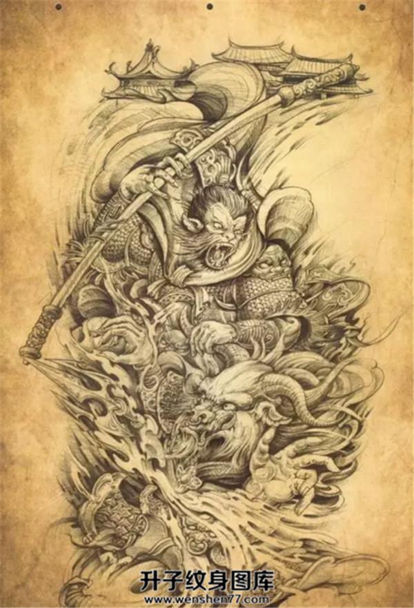 大圣与佛纹身手稿图案 素材图片