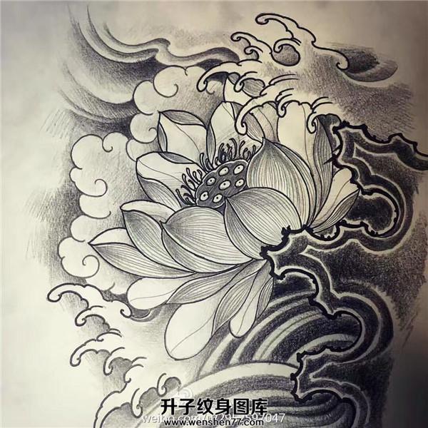 莲花纹身手稿图案_莲花纹身图案-荷花纹身图片