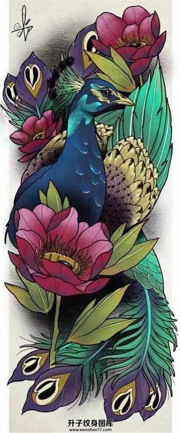 孔雀纹身_孔雀纹身手稿图案大全_传统纹身图片