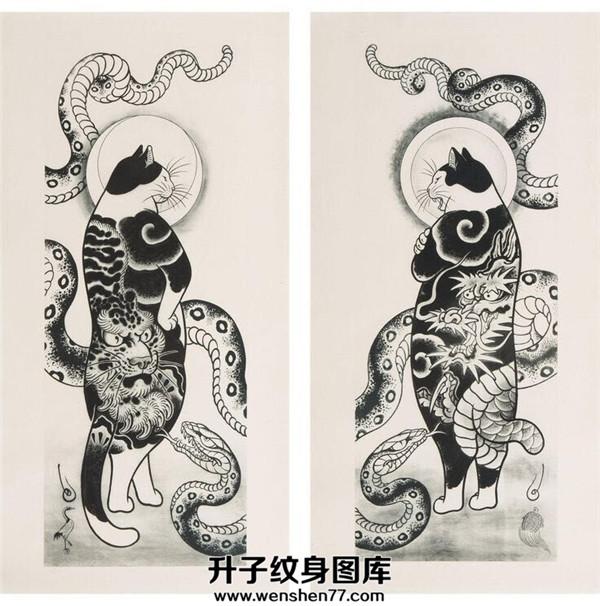 猫蛇纹身手稿图案大全_猫蛇纹身图片