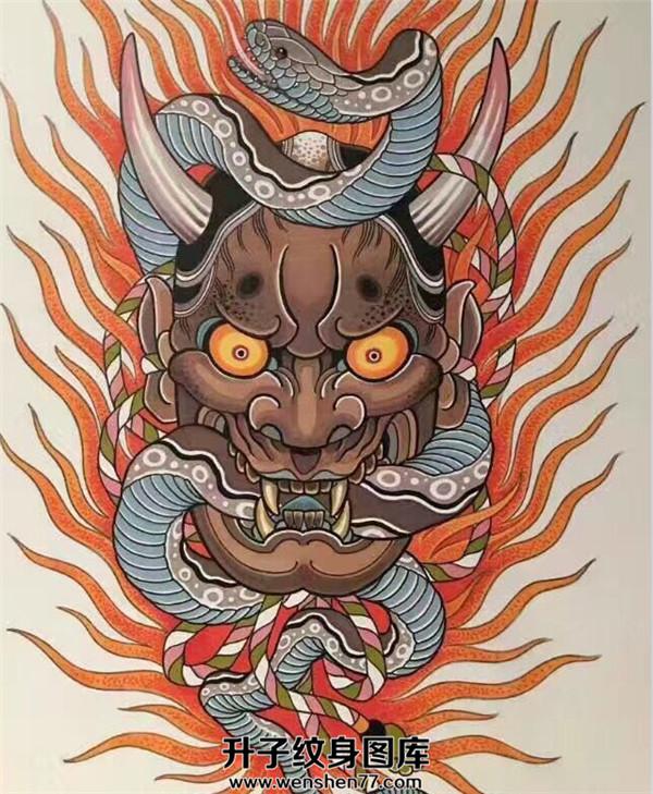 般若纹身_蛇纹身手稿图案_般若纹身手稿图案