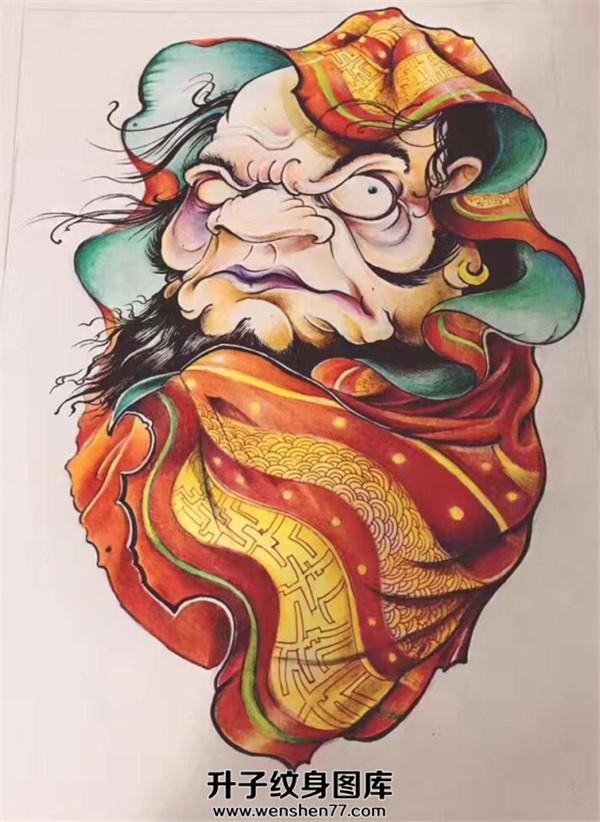 彩色达摩纹身手稿图案