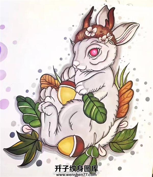 兔子纹身手稿图案