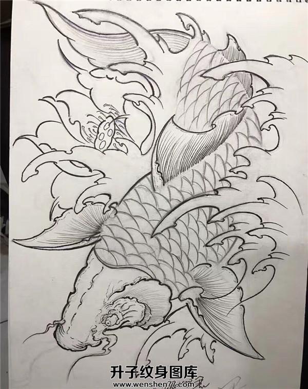 般若鲤鱼花臂纹身手稿图片_般若鲤鱼花臂纹身手稿
