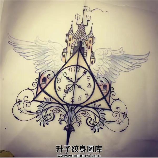 翅膀纹身-钟表纹身_纹身手稿图案翅膀钟表
