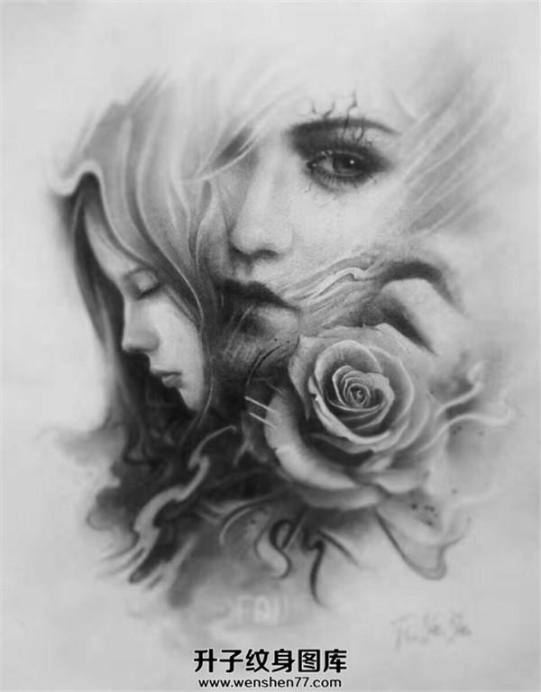 美女肖像玫瑰花纹身手稿