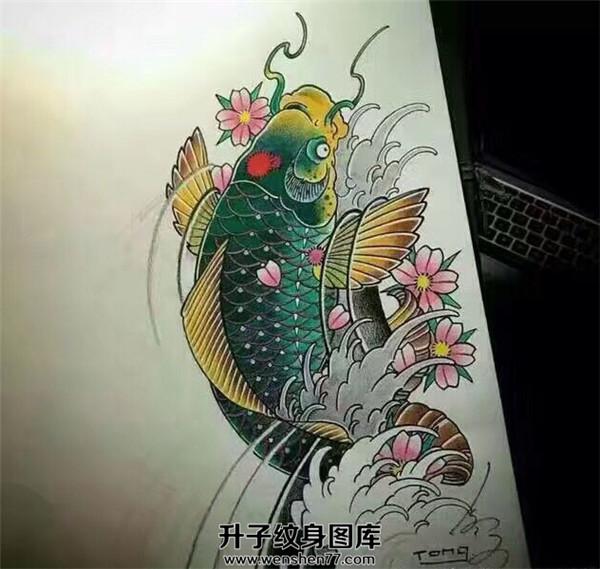传统纹身-鲤鱼纹身手稿图案大全