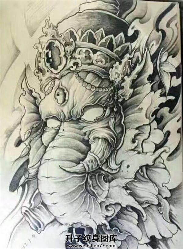 象神纹身手稿图案大全