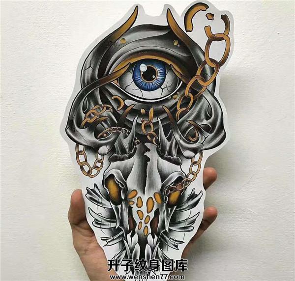 鹿头上帝之眼纹身手稿图案