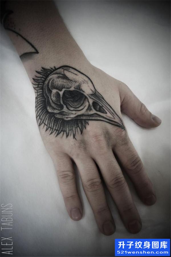 手背兽头纹身图案大全